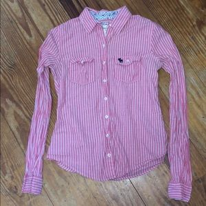 ⬇️ sale ⬇️ Abercrombie & Fitch pink striped shirt